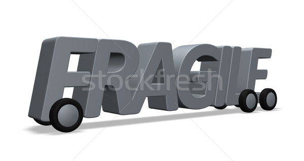 Fragile mot roues 3d illustration transport livraison Photo stock © drizzd