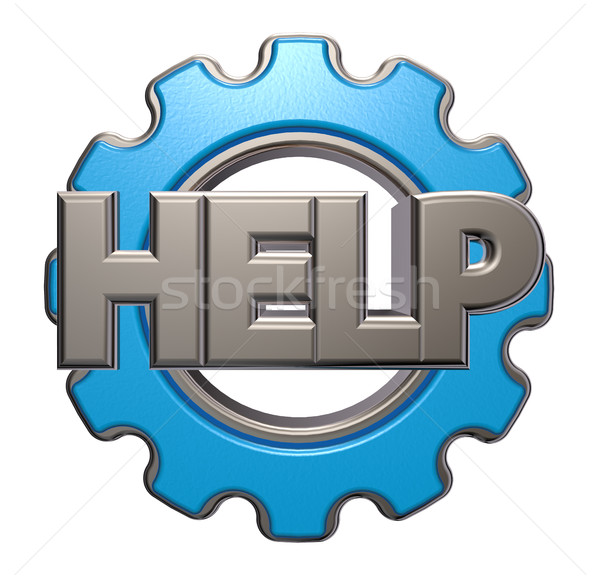 the word help and gear wheel - 3d rendering Stock photo © drizzd