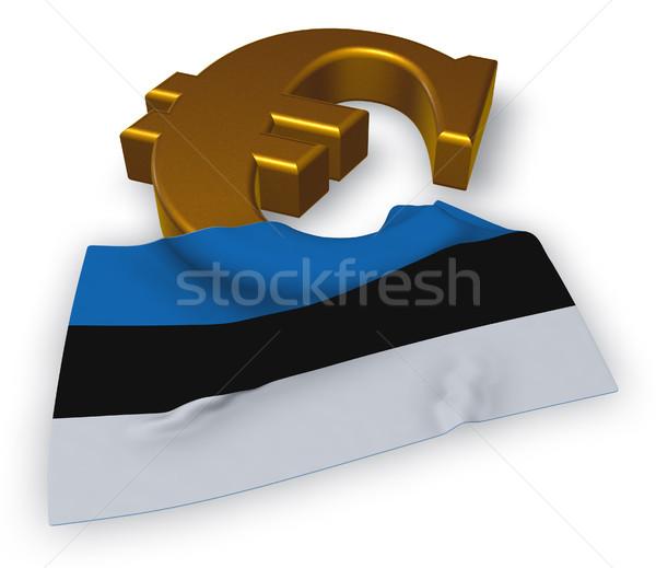 Foto stock: Euros · símbolo · bandera · Estonia · 3d · signo