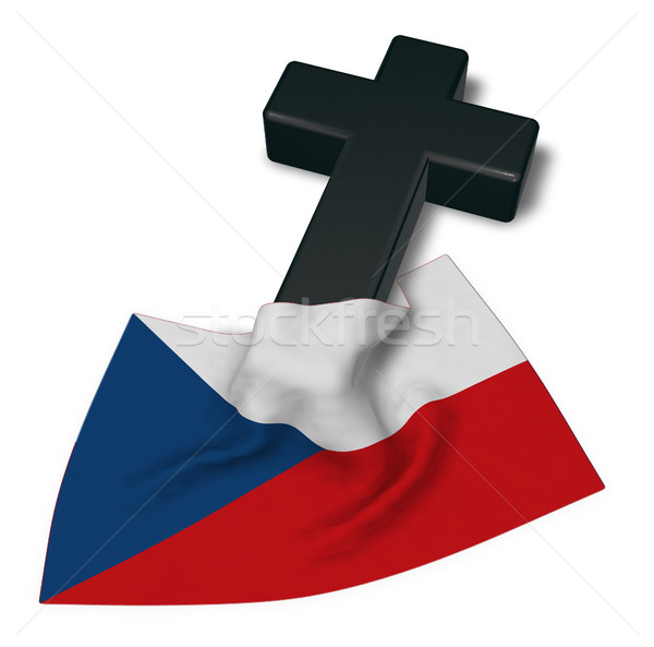 christian cross and flag of the Czech Republic - 3d rendering Stock photo © drizzd