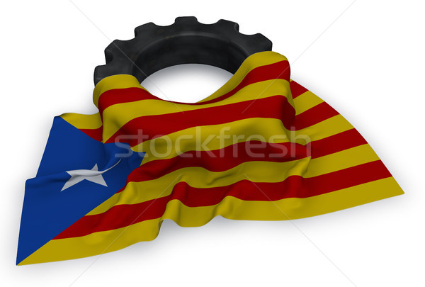 gear wheel and flag of catalonia - 3d rendering Stock photo © drizzd