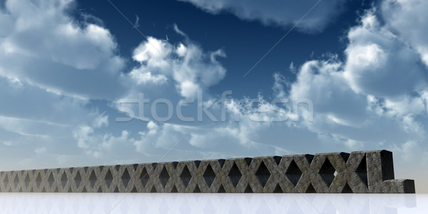 Super xxl rock blauwe hemel 3d illustration wolken Stockfoto © drizzd