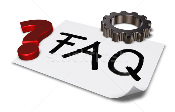 the word faq on paper sheet and gear wheel - 3d rendering Stock photo © drizzd