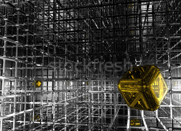abstract futuristic background with cube - 3d illustration Stock photo © drizzd
