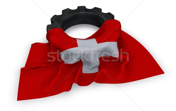 Dişli tekerlek bayrak 3D inşaat Stok fotoğraf © drizzd