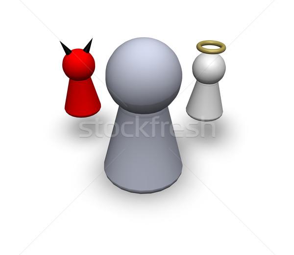 Játék emberi ördög angyal Jézus vallás Stock fotó © drizzd
