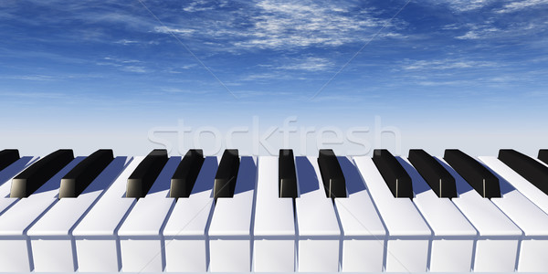 Piano toetsenbord blauwe hemel 3d illustration hemel abstract Stockfoto © drizzd