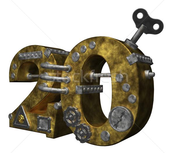 Nombre vingt steampunk blanche 3d illustration Finance Photo stock © drizzd