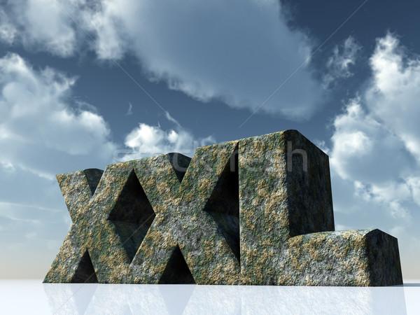 Xxl litery rock Błękitne niebo 3d ilustracji chmury Zdjęcia stock © drizzd