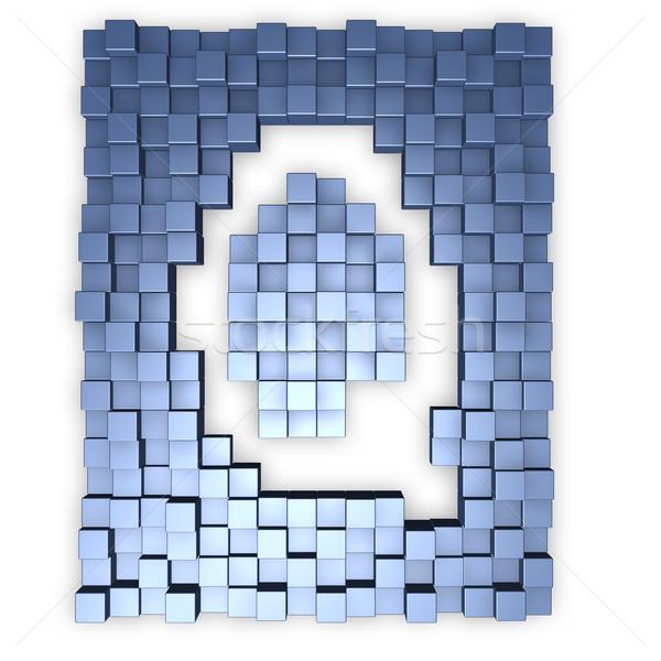 буква q форма 3d иллюстрации здании фон Сток-фото © drizzd
