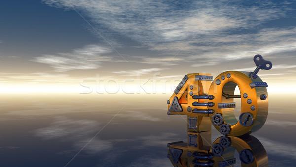 Numara kırk steampunk mavi gökyüzü 3d illustration gökyüzü Stok fotoğraf © drizzd