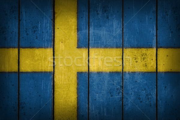 Svédország zászló öreg fából készült seb kék Stock fotó © drizzd