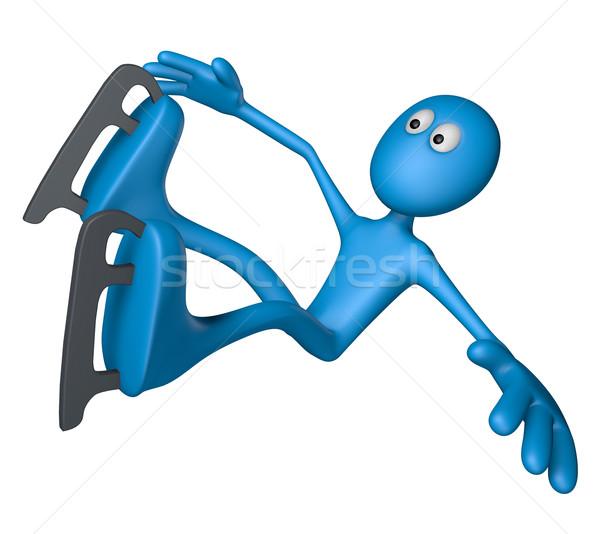 Korcsolyázás kék fickó zuhan 3d illusztráció sport Stock fotó © drizzd