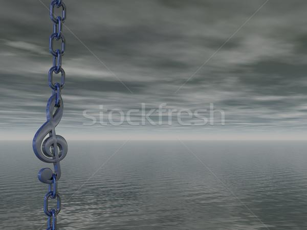 темно металл цепь небе 3d иллюстрации воды Сток-фото © drizzd