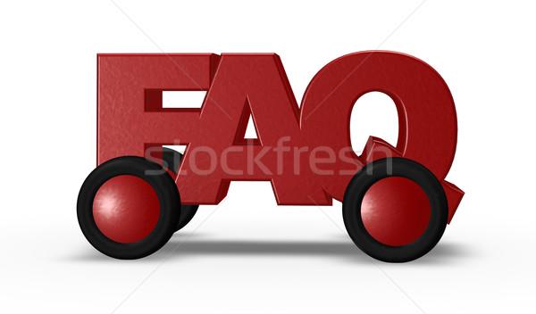 Sss tekerlekler etiket 3d illustration Internet yardım Stok fotoğraf © drizzd