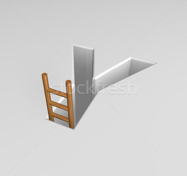Carta escalera forma agujero 3d éxito Foto stock © drizzd