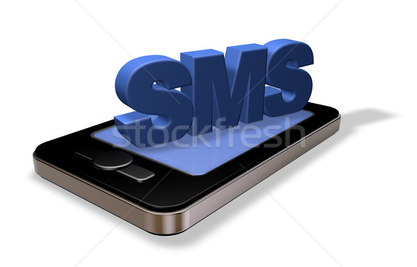 Sms smartphone tag witte 3d illustration telefoon Stockfoto © drizzd