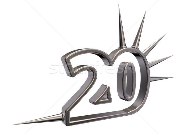 Сток-фото: числа · двадцать · белый · 3d · иллюстрации · металл · стиль