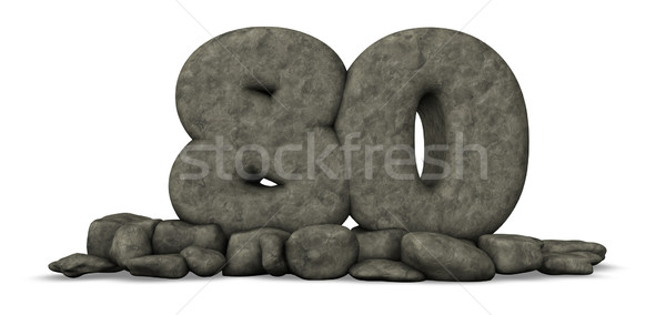 stone number eighty on white background - 3d rendering Stock photo © drizzd