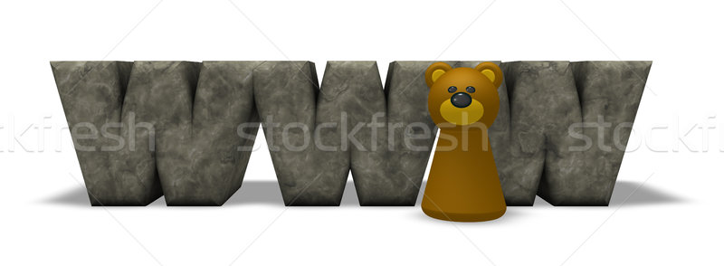 letters www and bear pawn - 3d rendering Stock photo © drizzd