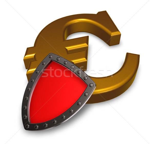 euro symbol and metal shield - 3d illustration Stock photo © drizzd