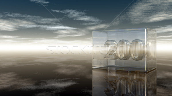 number two hundred in glass cube under cloudy sky - 3d rendering Stock photo © drizzd