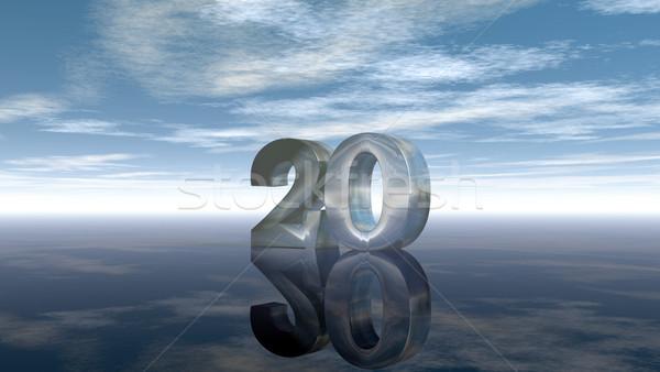 Aantal twintig bewolkt hemel 3D Stockfoto © drizzd