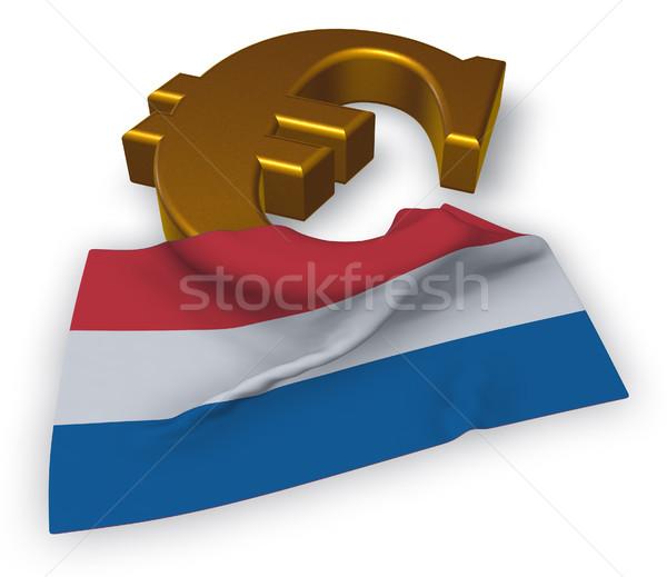 евро символ флаг Нидерланды 3d иллюстрации Финансы Сток-фото © drizzd