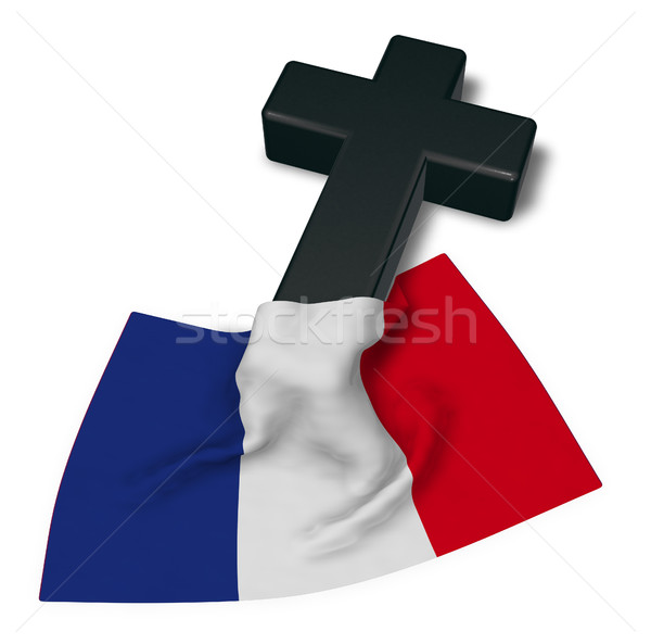 christian cross and flag of france - 3d rendering Stock photo © drizzd