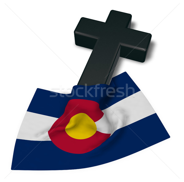 christian cross and flag of colorado - 3d rendering Stock photo © drizzd