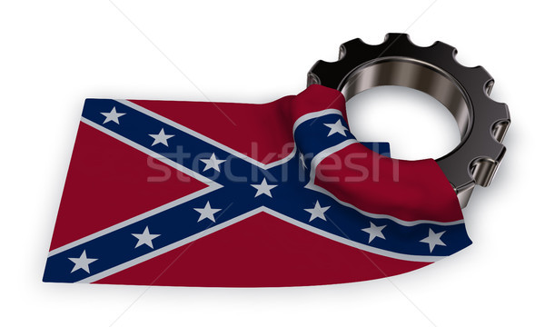 gear wheel and flag of the Confederate States of America - 3d rendering Stock photo © drizzd
