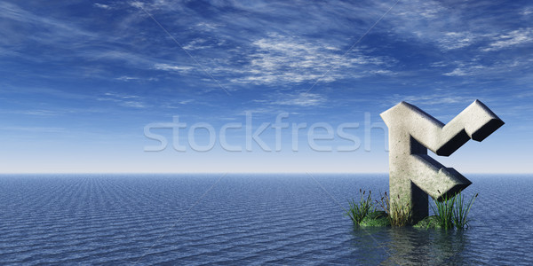 Viking rock oceaan 3d illustration wolken teken Stockfoto © drizzd