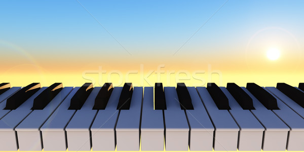 Szimfónia zongora billentyűzet napos égbolt 3d illusztráció Stock fotó © drizzd