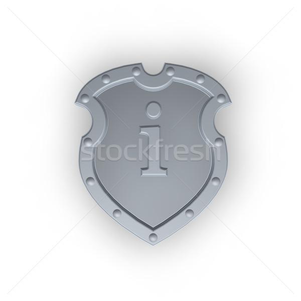 Schild letter i metaal witte 3d illustration frame Stockfoto © drizzd