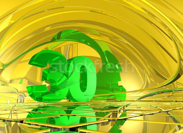 Numara otuz soyut ayna uzay 3d illustration Stok fotoğraf © drizzd
