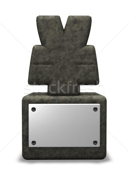 Kamień jen symbol biały 3d ilustracji ceny Zdjęcia stock © drizzd