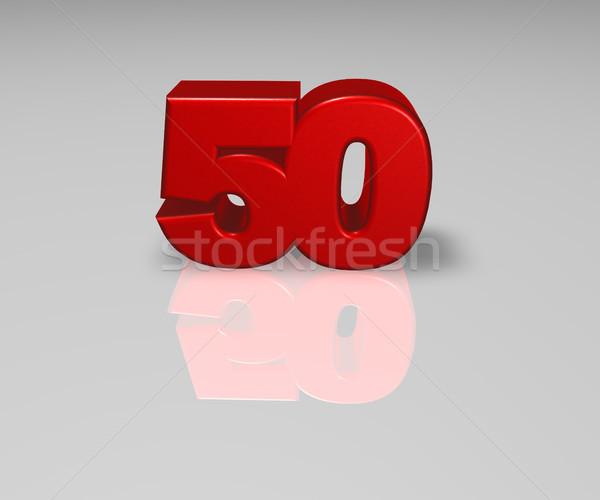 Szám ötven piros fényes felület 3d illusztráció Stock fotó © drizzd