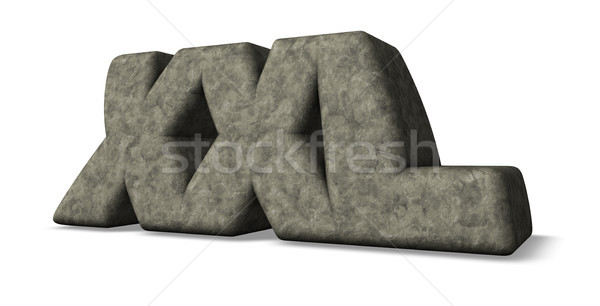 Stockfoto: Xxl · steen · brieven · witte · 3d · illustration · brief