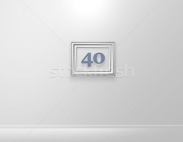 Czterdzieści ramki obrazu numer biały ściany 3d ilustracji Zdjęcia stock © drizzd
