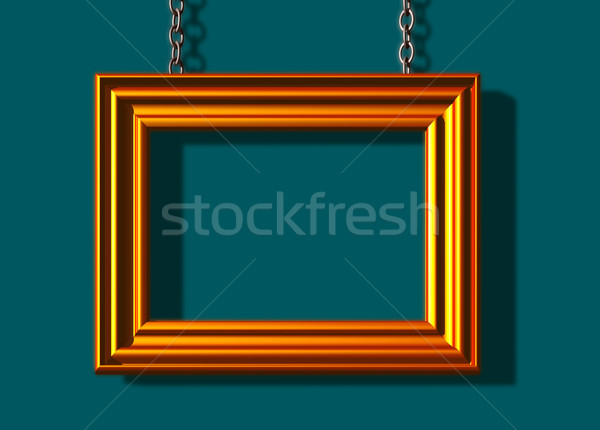 Frame gouden fotolijstje 3d illustration ontwerp home Stockfoto © drizzd