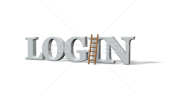 Inloggen woord ladder witte 3d illustration gemeenschap Stockfoto © drizzd