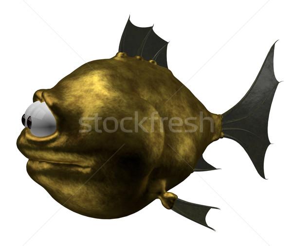 Strano Goldfish illustrazione 3d acqua pesce nuoto Foto d'archivio © drizzd