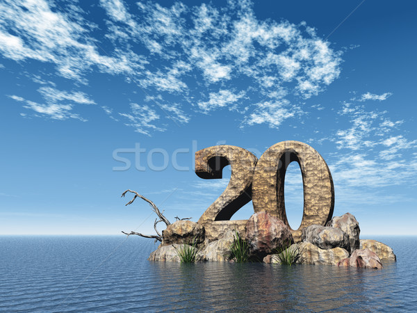Numara yirmi 20 okyanus 3d illustration su Stok fotoğraf © drizzd