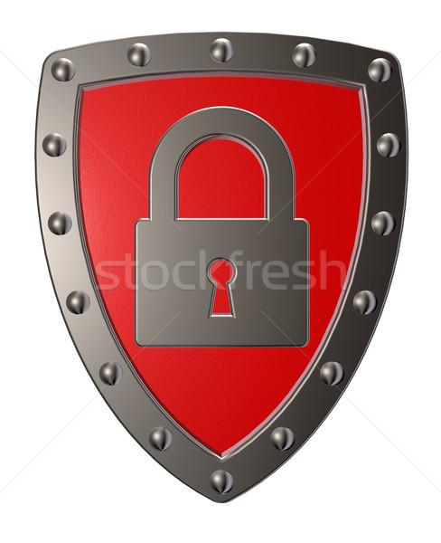 Segurança metal escudo cadeado símbolo ilustração 3d Foto stock © drizzd