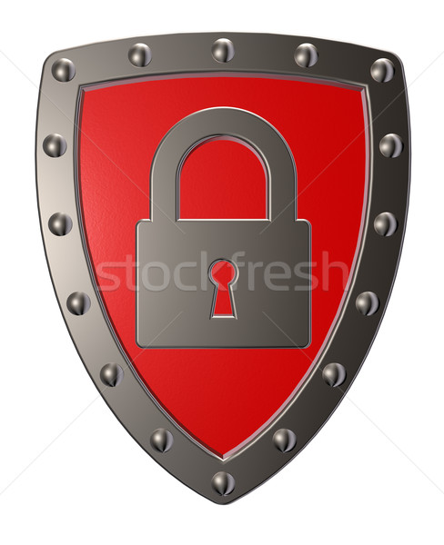 Güvenlik Metal kalkan asma kilit simge 3d illustration Stok fotoğraf © drizzd