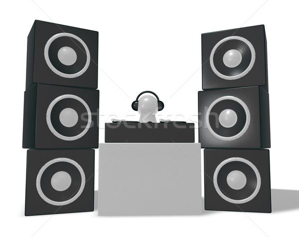 Discotecário toca-discos ilustração 3d clube preto prato giratório Foto stock © drizzd