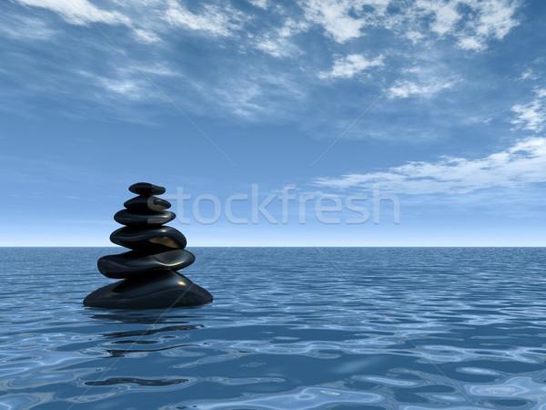 Torre pedras água ilustração 3d Foto stock © drizzd