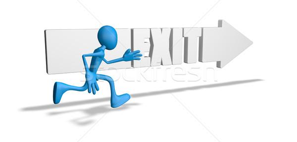 終了する 矢印 を実行して 漫画 男 3次元の図 ストックフォト © drizzd