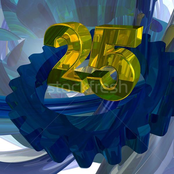 Foto stock: Vinte · cinco · dourado · número · techno · espaço