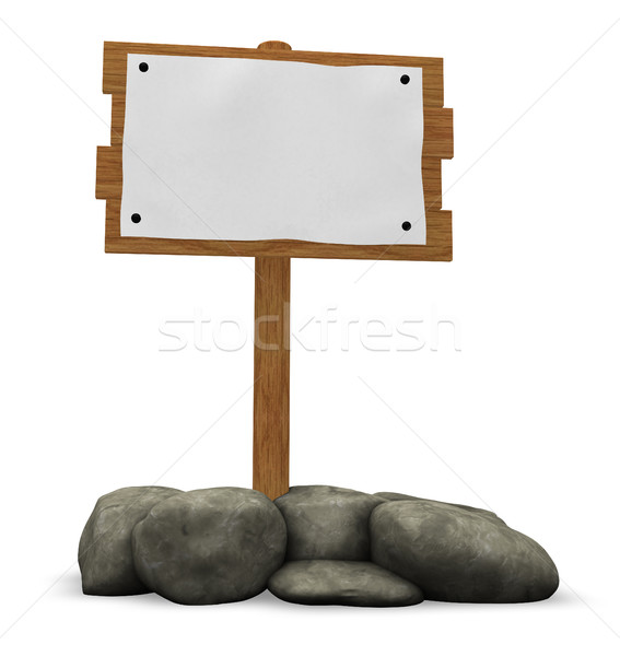 wooden sign and stones - 3d illustration Stock photo © drizzd